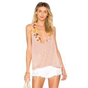 Free People Large Tank Top Floral Appliqué NEW